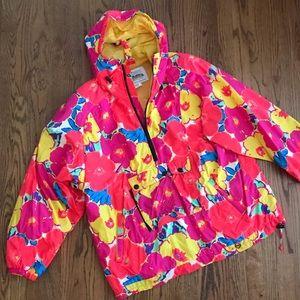 Vintage Floral Neon Obermeyer 1980s ski jacket L
